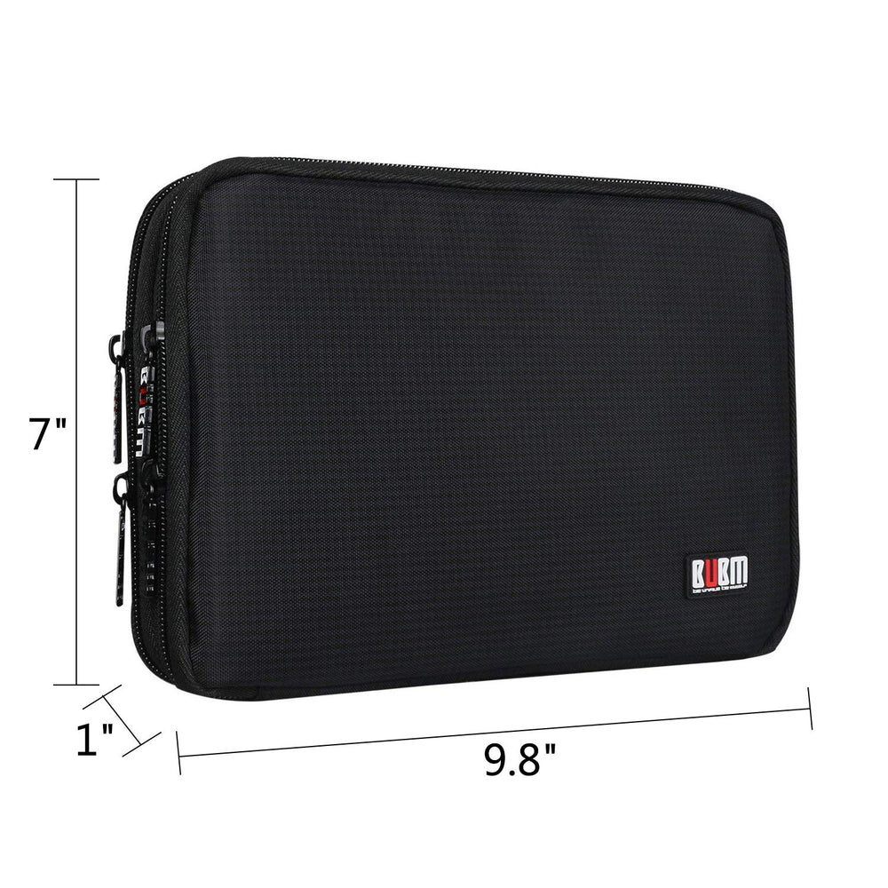 measurements of travel electronics organizer are 7 inches tall. 9.8 inches wide and 1 inch thick