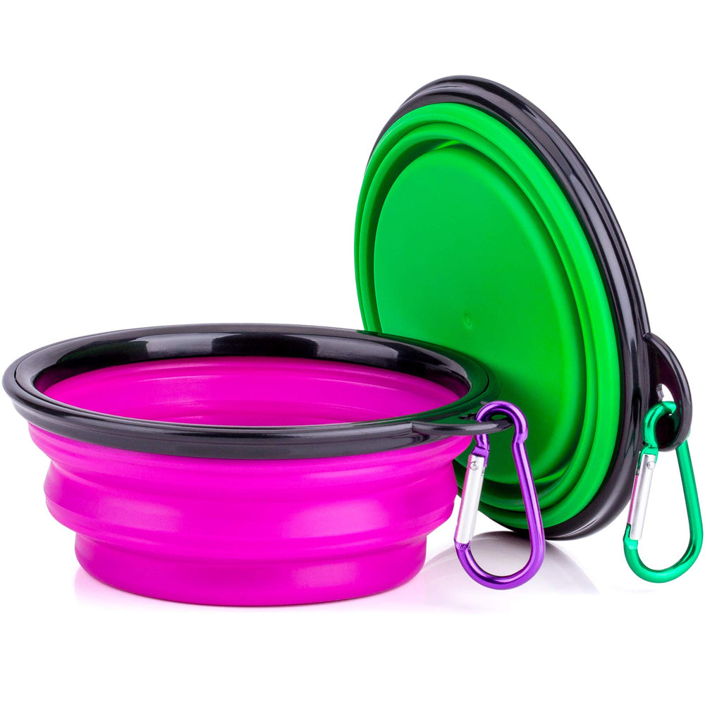 Portable Silicone Pet Bowl, 5 Inches, Foldable Expandable Water Feeding Travel Bowl for Pet Dog Cat and Small Animals (Set of 2, Purple+Green)