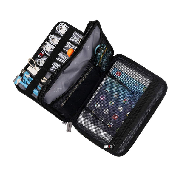 cords and electronics fitted into travel electronics organizer