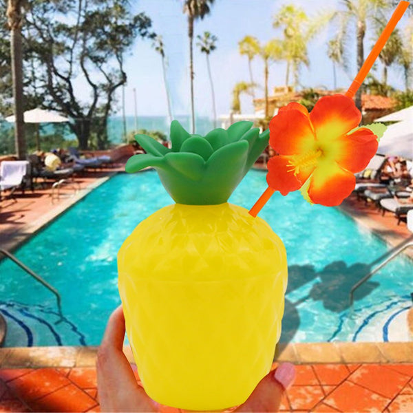 Pineapple Drink Cups with Flower Straws, 12 pack