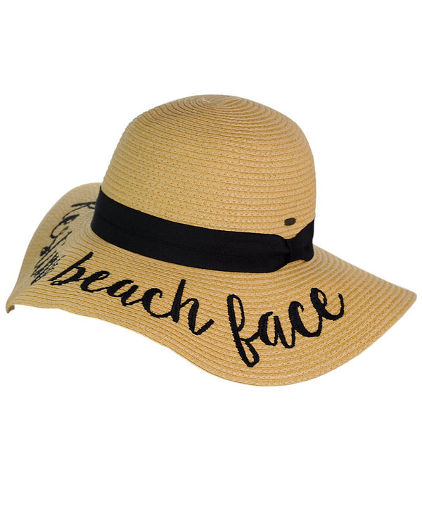 Women's Beach Embroidered Quote Floppy Brim Sun Hat