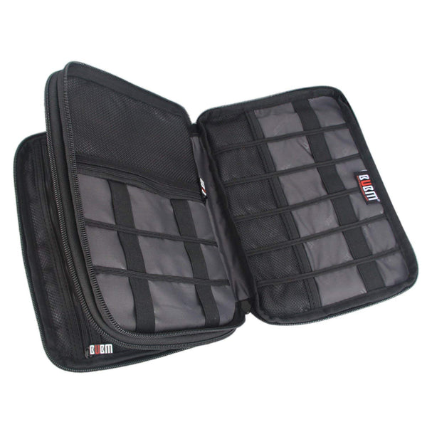 empty compartments of a travel electronics organizer