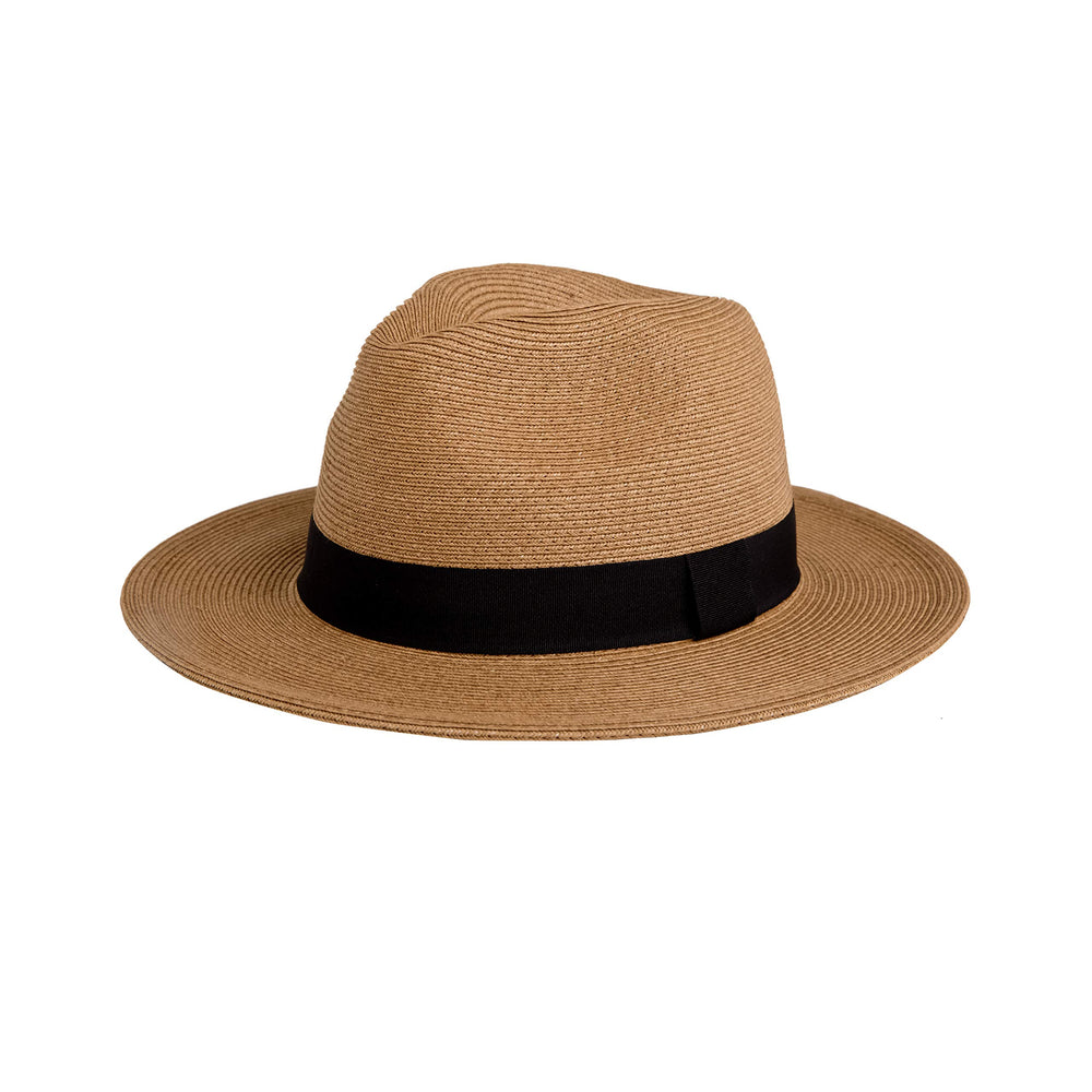 Pineapple&Star Sun Straw Fedora Beach Hat Fine Braid UPF50+ for Both Women Men(Small, Brown)