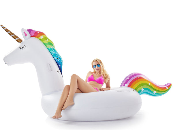 Jasonwell Giant Inflatable Unicorn Pool Float Floatie Ride On with Rapid Valves Large Rideable Blow Up Summer Beach Swimming Pool Party Lounge Raft Decorations Toys Kids Adults