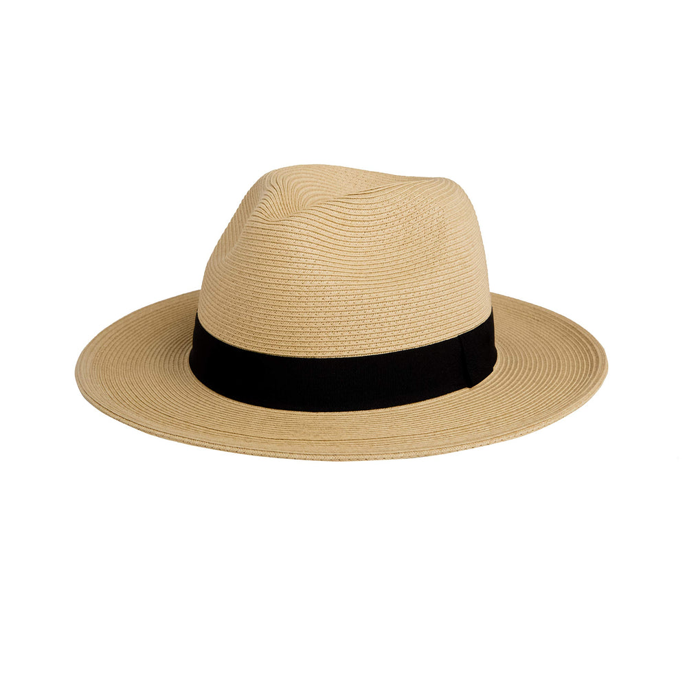 Pineapple&Star Sun Straw Fedora Beach Hat Fine Braid UPF50+ for Both Women Men (Medium, Beige)