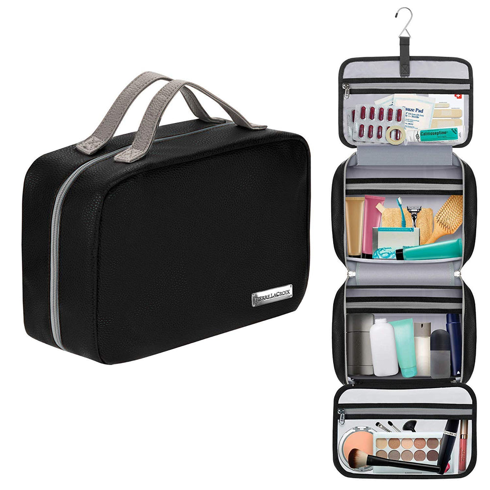 Cruelty-Free Leather Hanging Travel Toiletry Bag - Black