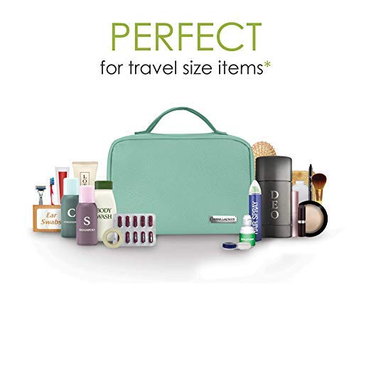 Cruelty-Free Leather Hanging Travel Toiletry Bag - Turqoise