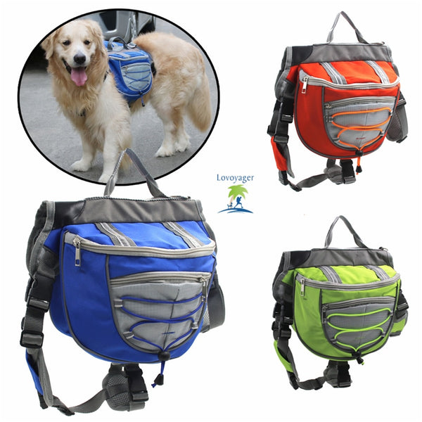 High quality pet accessories waterproof Adjustable nylon Pet Backpack Dog saddle Bag For Large Dog hiking travel