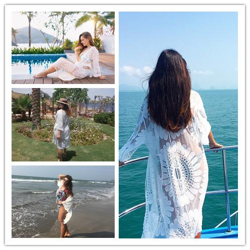 Pareo Beach Cover Up Floral Embroidery Bikini Cover Up Swimwear Women Robe De Plage Beach Cardigan Bathing Suit Cover Ups