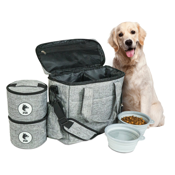 Top Dog Travel Bag - Airline Approved Travel Set for Dogs of All Sizes - Stores All Your Dog Accessories - Includes Travel Bag, 2x Food Storage Containers and 2x Collapsible Dog Bowls - Gray