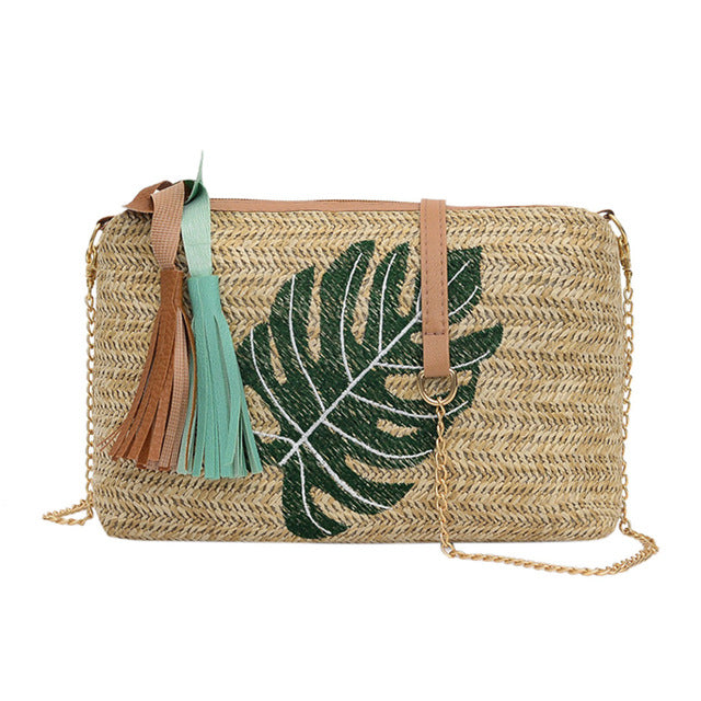 Tropical Leaves Woven Rattan Handbag