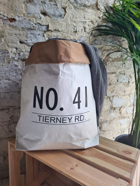 Personalised House Number Paper Storage Bag