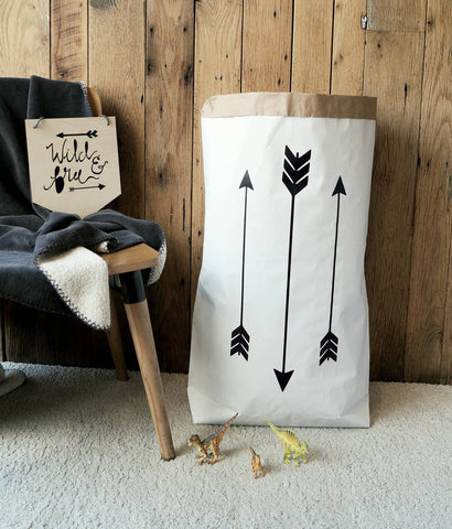 Arrows - Paper Storage Bag for toys, blankets, dry laundry, books, teddies and so much more - different colours available