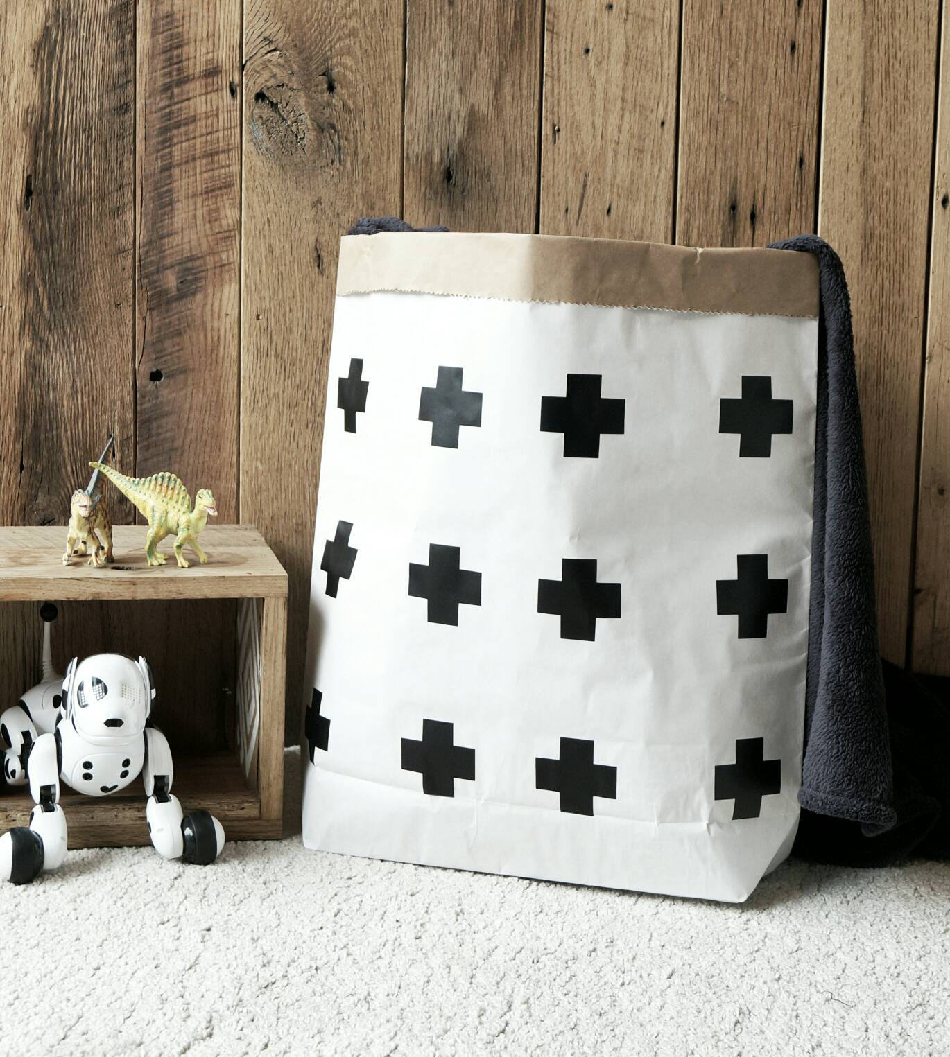 Cross - Paper Storage Bag for toys, Books,  magazines, blankets / Storage bag / Paper Toy Bag - different colours available