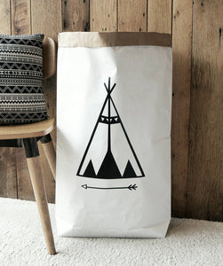 Teepee paper storage bag for toys, Books,  magazines, blankets / Storage bag - different colours available