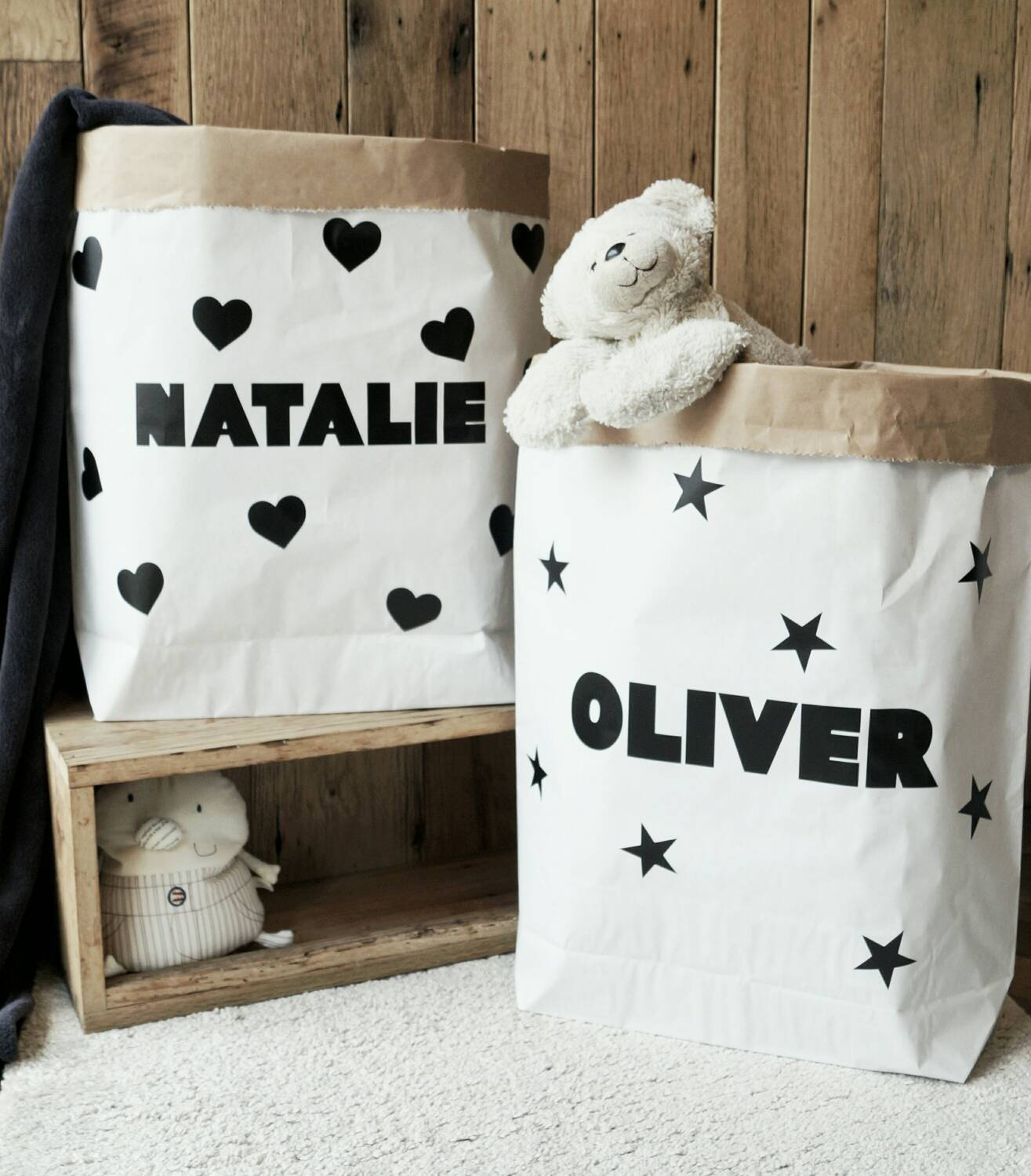 Small, personalised, paper storage bag for toys, books, blankets, teddies and much more - 55x50x13cm / Paper Toy Bag