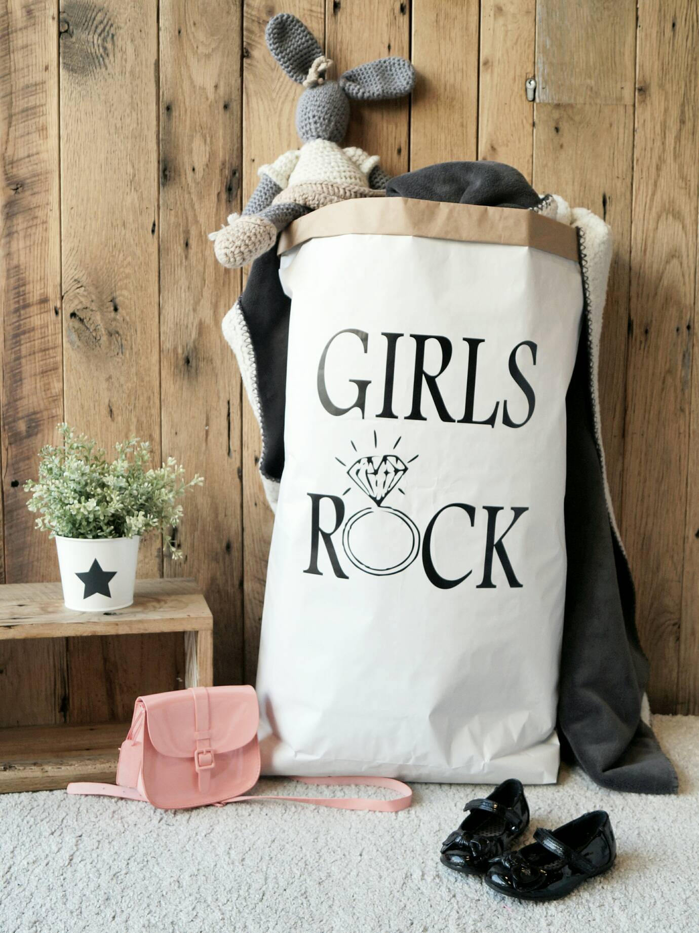 Girls Rock - Personalised Paper Storage Bag for dresses, books, magazines, clothes / Paper Toy Sack - different colours available