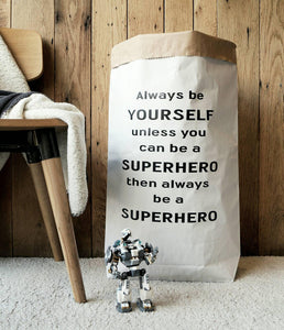 Superhero - Personalised Toy Bag/ Storage Bag/ Paper Toy Sack/ Kraft paper bag /  Paper Toy Bag - different colours available