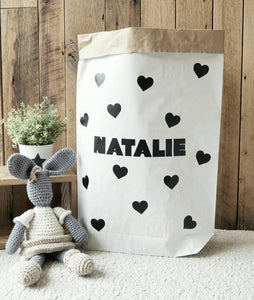 SALE - Name plus hearts - paper storage bag / Paper Bag for toys, Books,  magazines, blankets / Kraft paper bag/ Storage bag / Paper Toy Bag