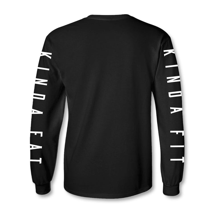 Kinda Fit Kinda Fat Premium Black Long Sleeve T-shirt. Back of shirt. Right sleeve print Kinda Fit and left sleeve print Kinda Fat in white letters. Unisex and true to size.