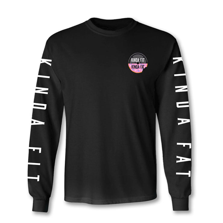 Kinda Fit Kinda Fat Premium Black Long Sleeve T-shirt. Original KFKF Donut and weight logo print on left chest. Logo colors are black and pink with white and black lettering. Right sleeve print Kinda Fit and left sleeve print Kinda Fat in white letters. Unisex and true to size.