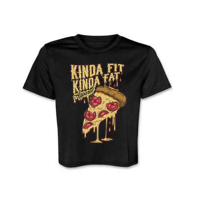 "Premium Black Crop Top with Kinda Fit Kinda Fat pizza logo on front chest. Lettering is yellow with melted effect. Pizza drawing with plates as ""pepperoni."" Flowy fit with tailored sleeve. Modest crop and female sizing."