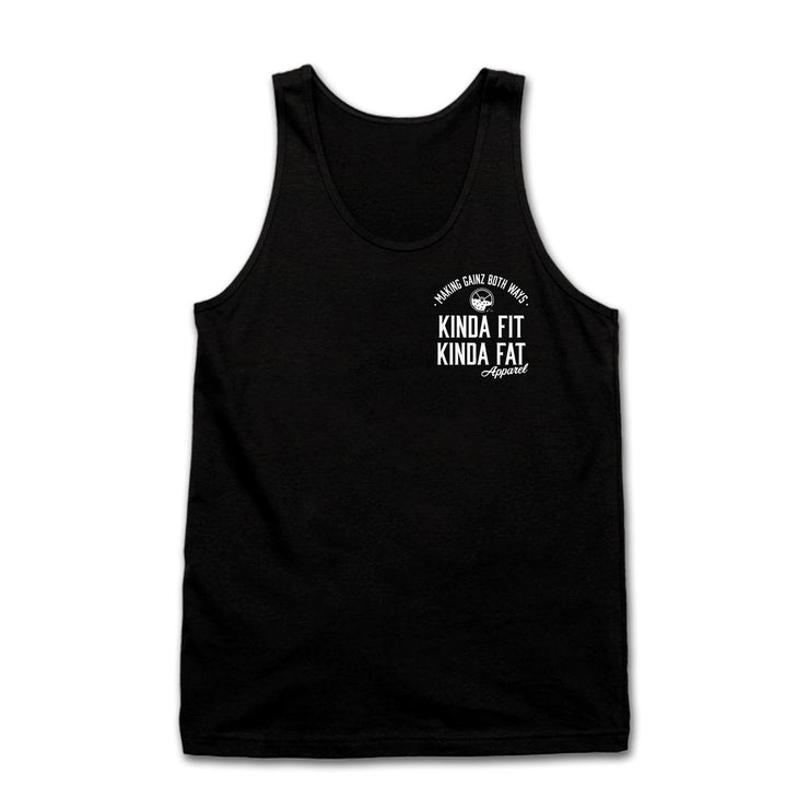 "Kinda Fit Kinda Fat Premium Unisex Black Tank Top. Front of shirt on left chest. Apparel Logo print ""making gainz both ways"" with donut and weight logo. Kinda Fit Kinda Fat Apparel print underneath. White lettering athletic fit tank top. Unisex sizing and true to size."