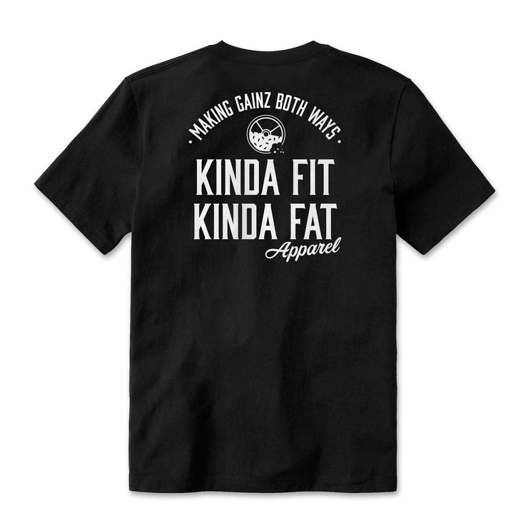 "Kinda Fit Kinda Fat Premium Unisex Black T-shirt. Back of shirt. Apparel Logo print on back ""making gainz both ways"" with donut and weight logo. Kinda Fit Kinda Fat Apparel print underneath. White lettering athletic fit t-shirt. Unisex sizing and true to size."