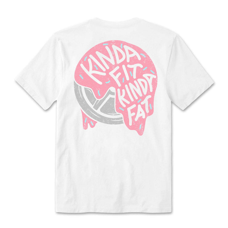 Kinda Fit Kinda Fat Premium white unisex t-shirt. Frosted Plates Logo on back of shirt with pink plate and white letters. True to Size.