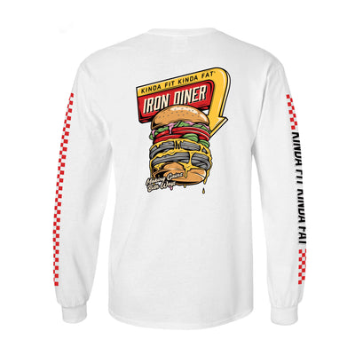 "Kinda Fit Kinda Fat Premium White long sleeve t-shirt. Iron diner logo on back of shirt. Red and yellow diner sign. Burger image with weight plates. ""Making gainz both ways"" on bottom of the burger. Red raceway print on sleeves. Right sleeve reads Kinda Fit Kinda Fat with black lettering."