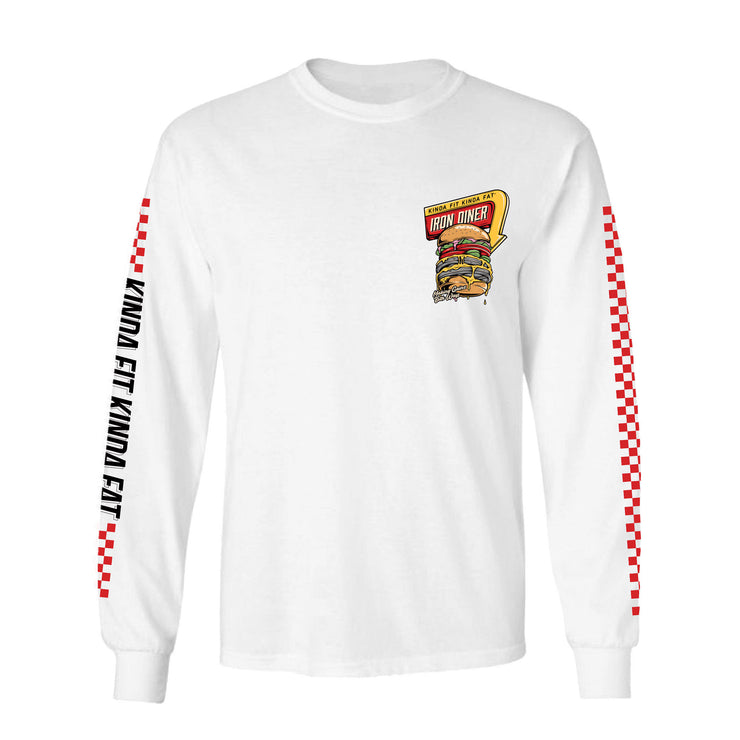 "Kinda Fit Kinda Fat Premium White long sleeve t-shirt. Iron diner logo on left chest. Red and yellow diner sign. Burger image with weight plates. ""Making gainz both ways"" on bottom of the burger. Red raceway print on sleeves. Right sleeve reads Kinda Fit Kinda Fat with black lettering."