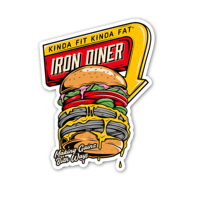 "Kinda Fit Kinda Fat Iron Diner sticker. Red and yellow diner sign. Burger image with weight plates. ""Making gainz both ways"" on bottom of the burger."