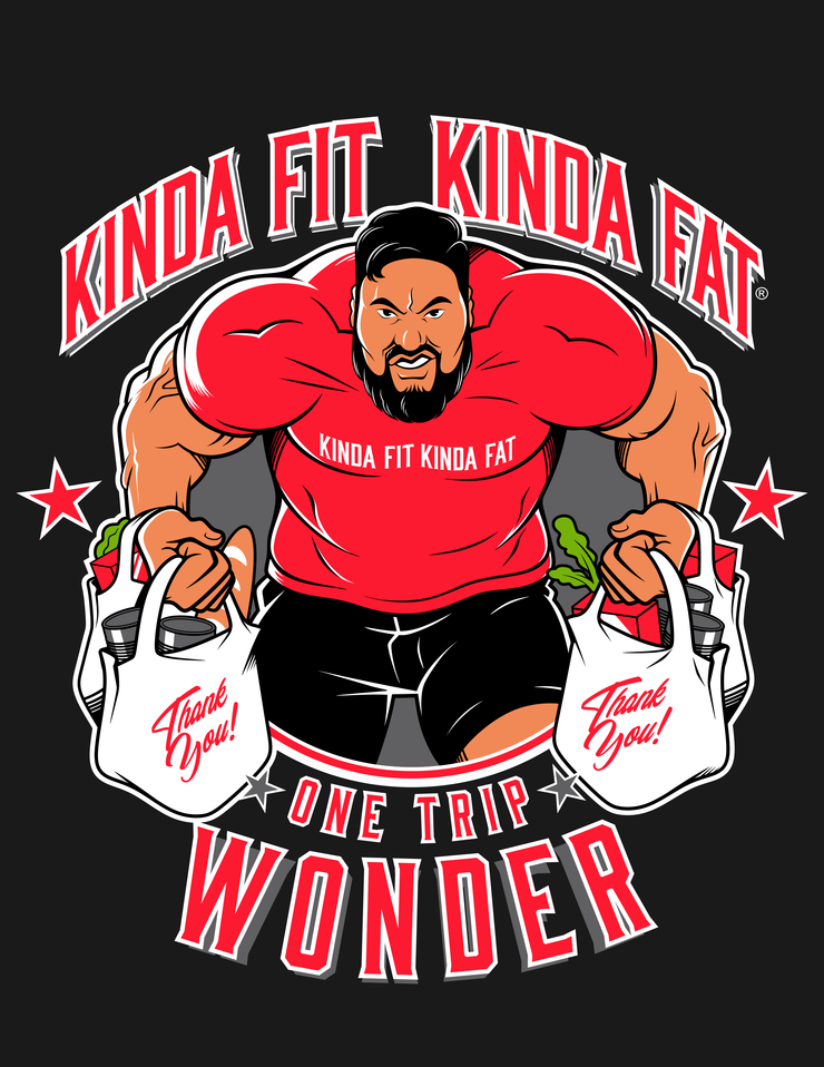 "Kinda Fit Kinda Fat Premium Unisex Black T-shirt. ""One trip wonder"" Eddie Williams Logo on front chest"