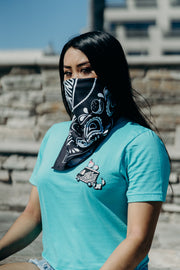 Millennial female with Kinda Fit Kinda Fat bandana and Gainsicle t-shirt
