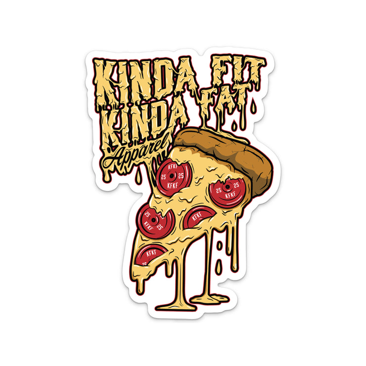 "Plateroni Sticker. Reads ""Kinda Fit Kinda Fat Apparel"" Yellow lettering with dripping effect. Pizza drawing with plates as ""pepperoni."""