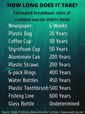 ocean plastic breakdown decompose years