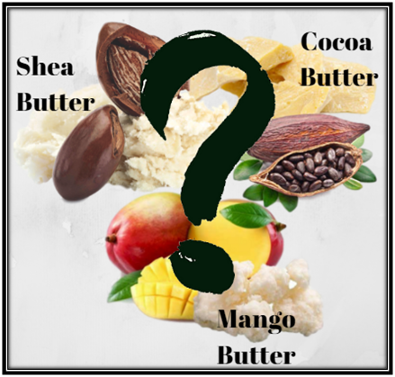 shea, cocoa, cacao, mango, butter, compare, contrast, difference, skin, skincare