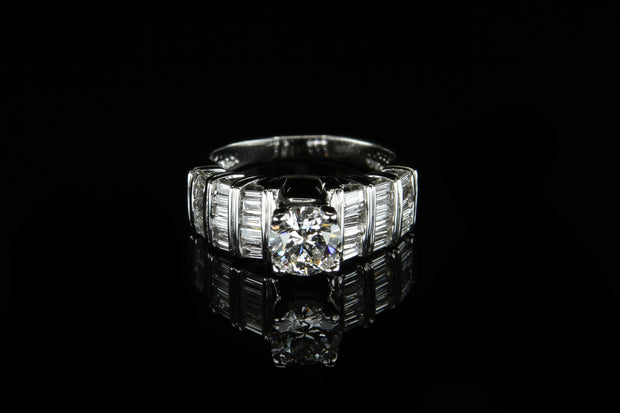 14K W/G Engagement Ring C0.84ct S0.80ct