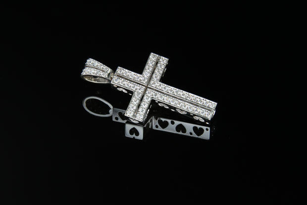 18K W/G Diamond Cross 0.76ct