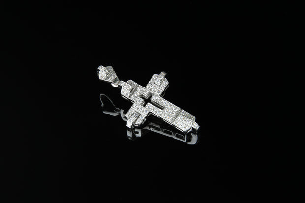 18K W/G Diamond Cross 0.59ct