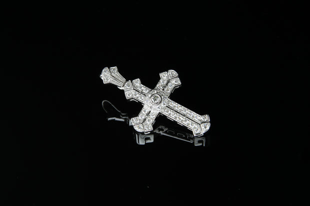 18K W/G Diamond Cross 0.69ct