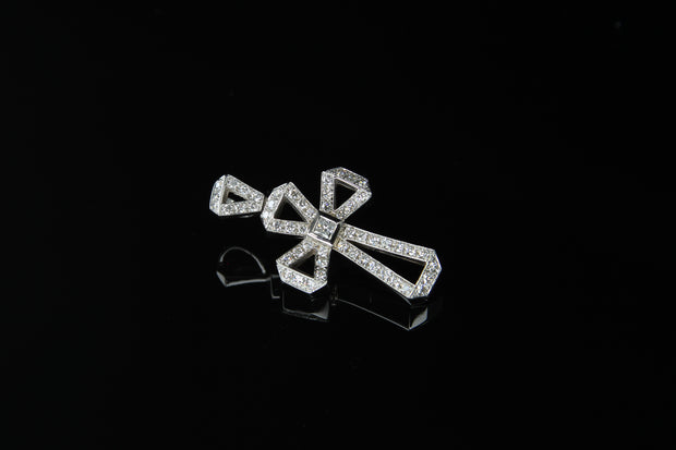 18K W/G Diamond Cross 0.61ct