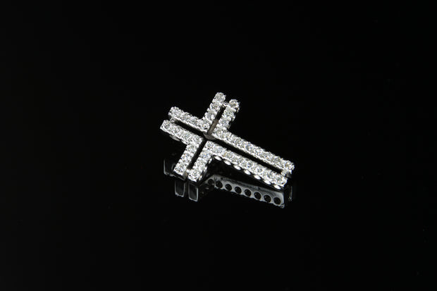 14K W/G Diamond Cross 0.90ct