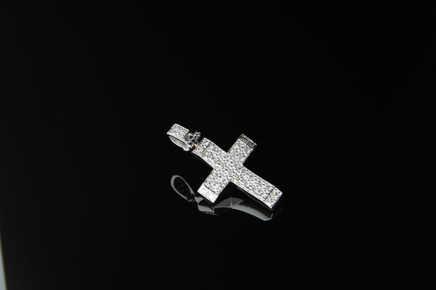 18K W/G Diamond Cross 0.52ct