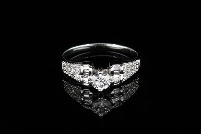 18K W/G Engagement Ring C0.31ct S0.22ct