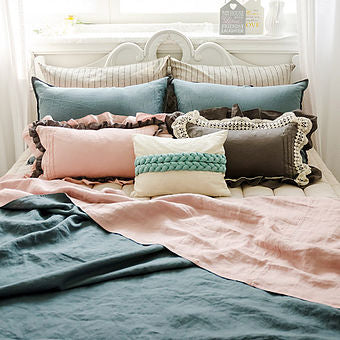 Linen Bedding Set - Bio washing Linen Blanket and Pillowcase