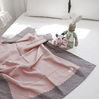 Rose Linen Throw Blanket