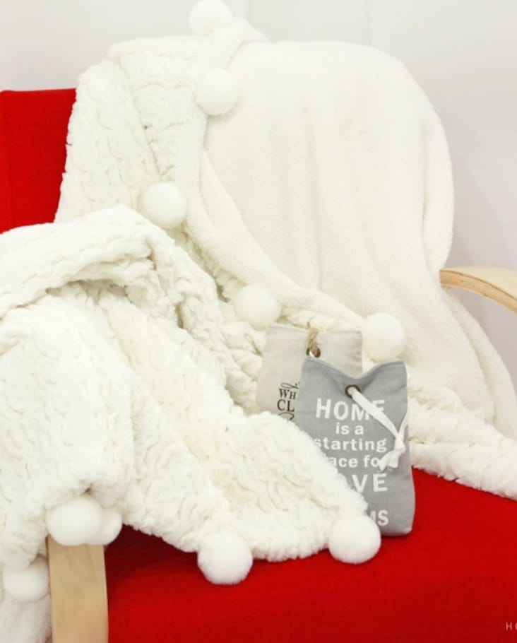 Mink Pompom Throw Blanket