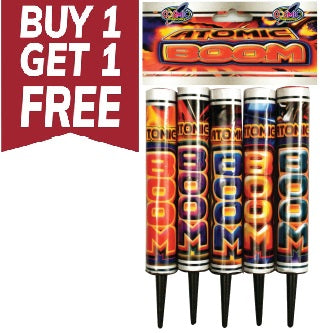 Atomic Boom By Cosmic Fireworks - Single Shot Roman Candle (Pack of 5) - BUY 1 GET 1 FREE!