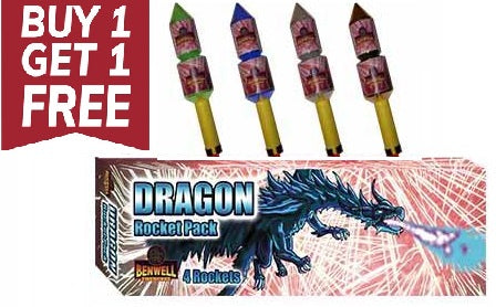 Dragon Rocket Pack - 4 Pack - By Benwell Fireworks - BUY 1 GET 1 FREE!
